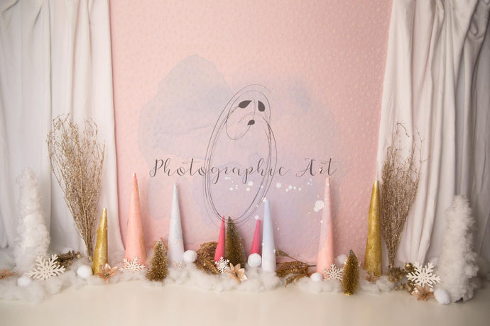 Pink Sparkly Winter Wonderland Backdrop