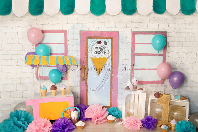 Children Birthday Ice Cream Backdrop