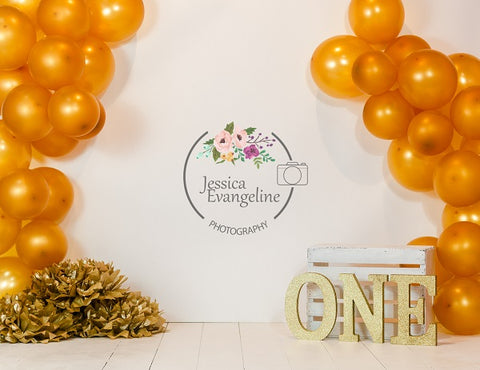 Birthday Cake Smash with Orange Balloons Children Backdrop