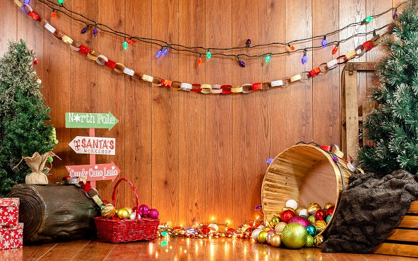 Load image into Gallery viewer, Kate Wooden Wall with Neon lights Christmas Backdrop for Photography Designed by Jessica Evangeline Photography