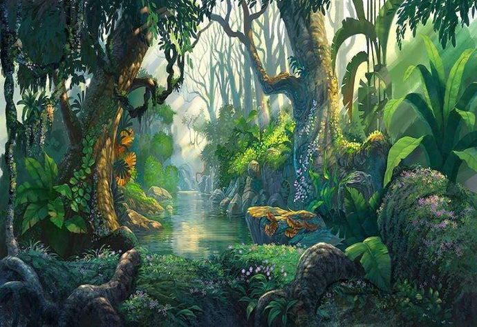 Kate Jungle Theme Backdrop Scenery Green Forest Tree Backdrop