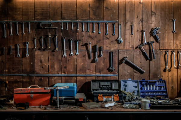 Kate Tool shelf against a table vintage garage backdrop for boy/Father's Day