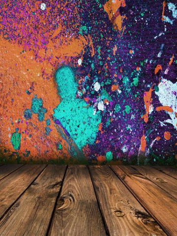 Katebackdrop:Kate Graffiti Colorful Wall Wooden Floor Photography Backdrops