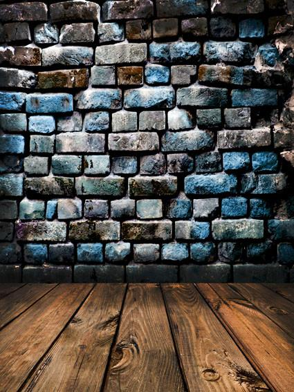 Kate Blue Stone Brick Wall Backdrop with Floor For Photography - Kate backdrops UK