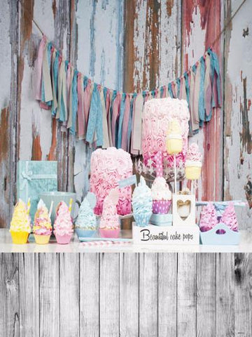 Katebackdrop:Kate Wood Background And Floor Cloth Flag Birthday Cake Smash Photography
