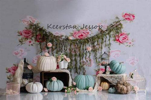 Kate Pretty Pumpkins Children Cake smash Backdrop Designed by Keerstan Jessop