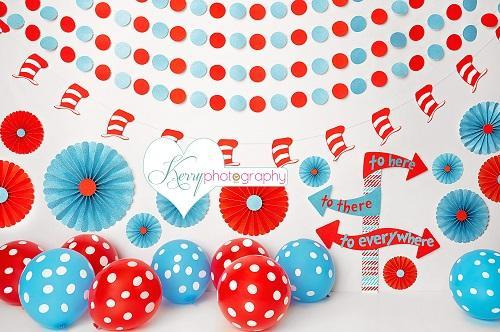 Kate Hat and Red and Blue Balloon Birthday Backdrop for Photography Designed by Kerry Anderson
