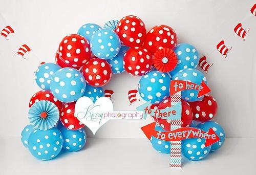 Kate Hat Themed Blue Red Balloon Cake Backdrop for Photography Designed by Kerry Anderson
