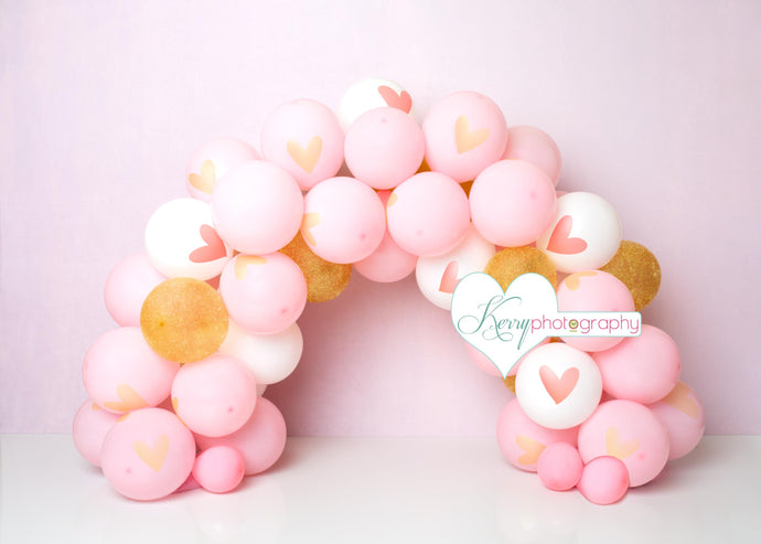 Kate Pink and Gold Princess Balloon Arch Cake Smash Backdrop Designed by Kerry Anderson