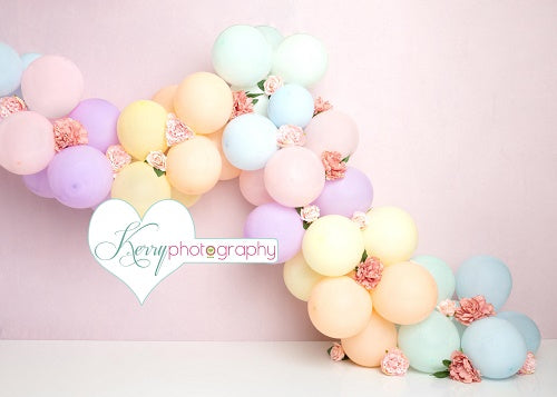 Kate Unicorn Rainbow Balloon Birthday Cake Smash Backdrop Designed by Kerry Anderson