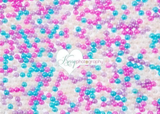 Kate Candy Sweets Ball Wall Pink Lilac and Blue Backdrop Designed by Kerry Anderson