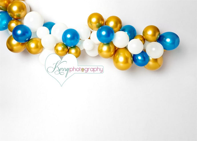 Kate Cake Smash Golden White Balloons Children Backdrop Designed by Kerry Anderson
