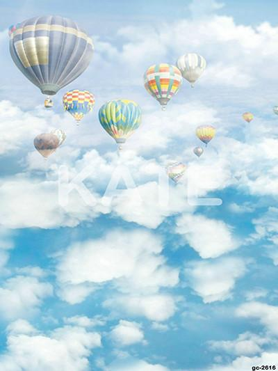 Load image into Gallery viewer, Kate Blue Sky Cloudy Hot Air Colored Balloon Backdrop For Children Photography - Kate backdrops UK