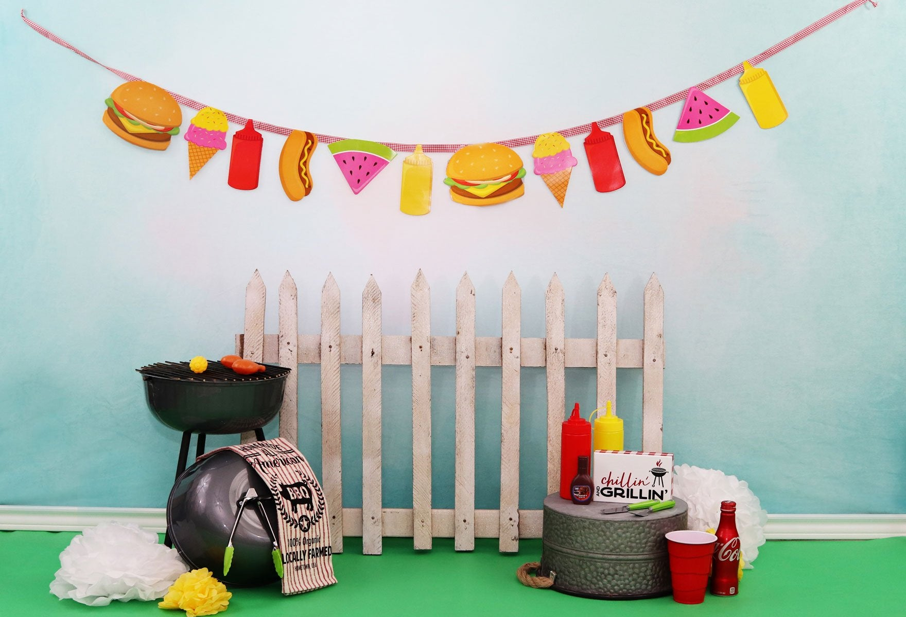 Load image into Gallery viewer, Kate Children Holiday Railing Picnic Spring Backdrop for Photography Designed by Leann West
