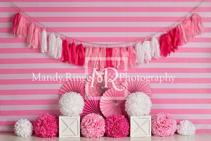 Pink and White Birthday with Stripes