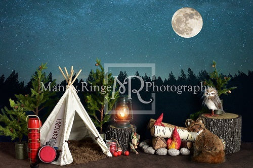 Load image into Gallery viewer, Kate Camping at Night Children Backdrop Designed By Mandy Ringe Photography
