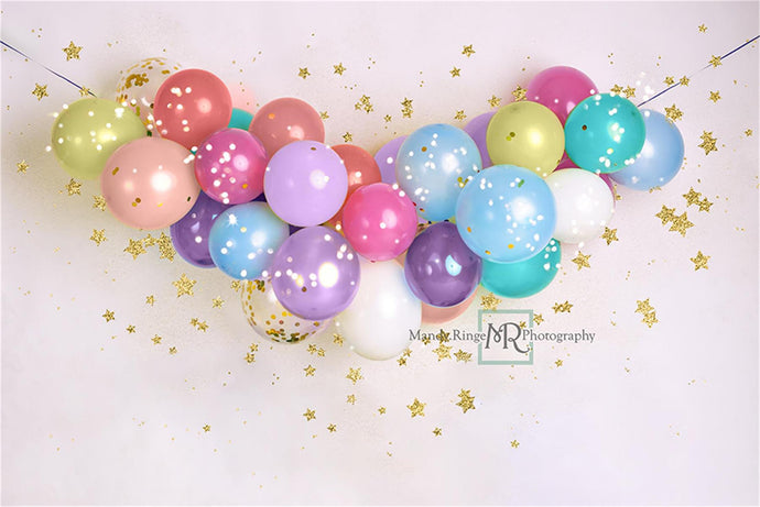 Children Pastel Balloons and Stars Backdrop