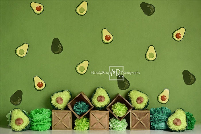 Green Avocado Party Children Backdrop