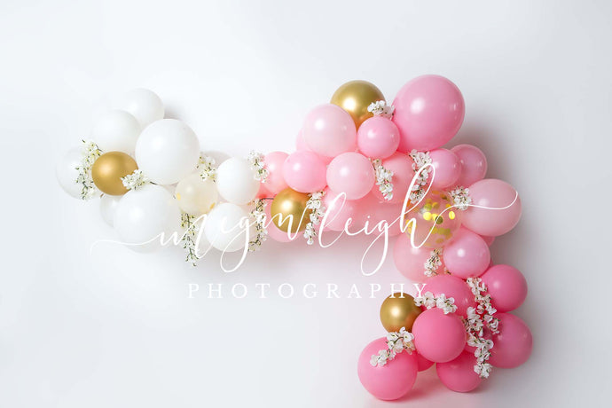 Children Pink Balloons Garland Birthday Backdrop
