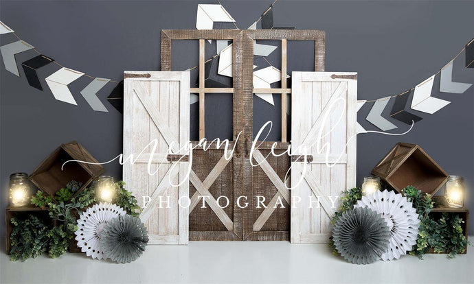 Boy Gray Rustic Children Backdrop