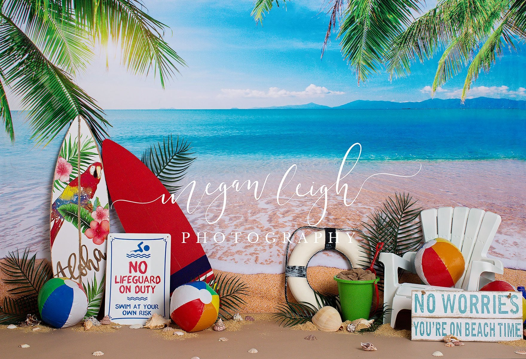 Load image into Gallery viewer, Kate Beach Day Sea Summer Backdrop for Photography Designed by Megan Leigh Photography
