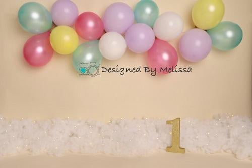 Kate Pastel Balloons Birthday Backdrop Designed by Melissa King