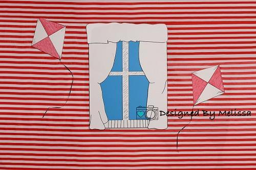 Kate Red Striped Backdrop Designed by Melissa King