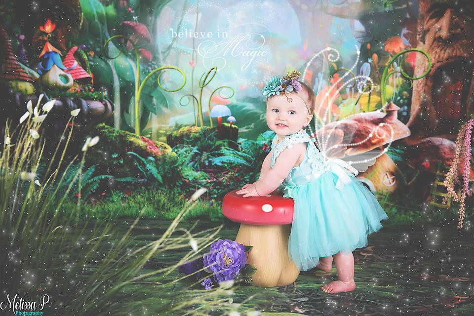Load image into Gallery viewer, Kate Fairy Tale Colorful Forest Green Mushrooms Backdrops