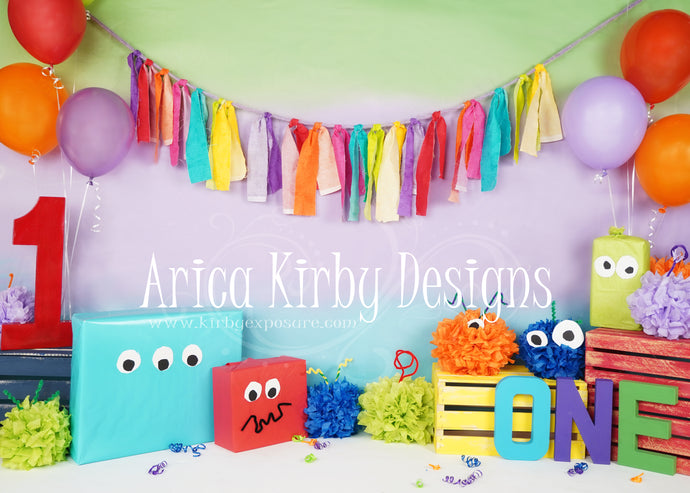Kate Balloon Monster First Birthday Backdrop Designed by Arica Kirby
