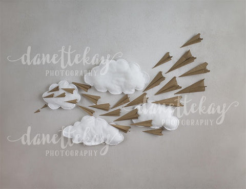Paper Airplane with Clouds Children Backdrop