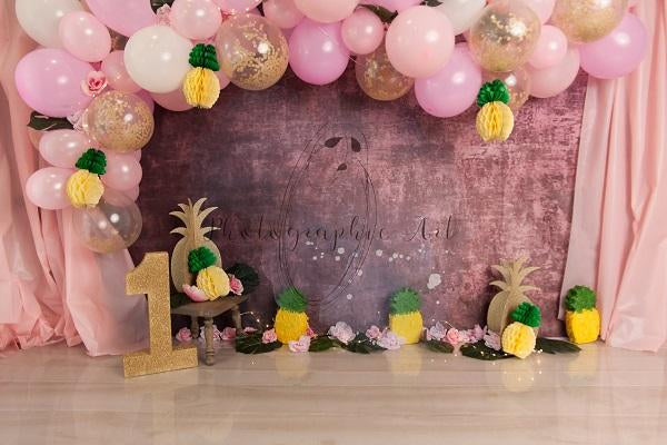 Cake Smash Pineapple Pink Balloons Backdrop
