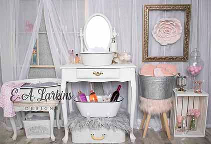 Load image into Gallery viewer, Kate Powder Room Children Backdrop for Photography Designed by Erin Larkins