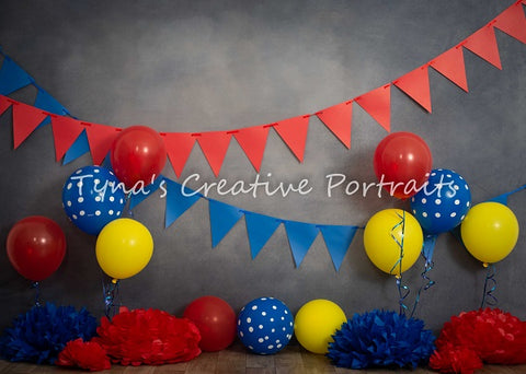 Kate Primary Party Children Birthday Backdrop Designed by Marina Smith