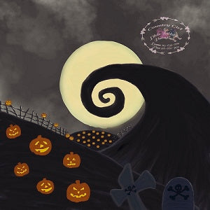 Kate Children Halloween Pumpkin garden nightmare Backdrop Designed by Leann West