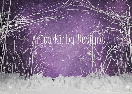 Load image into Gallery viewer, Kate Purple Winter Wonderland Snowy Backdrop Designed By Arica Kirby