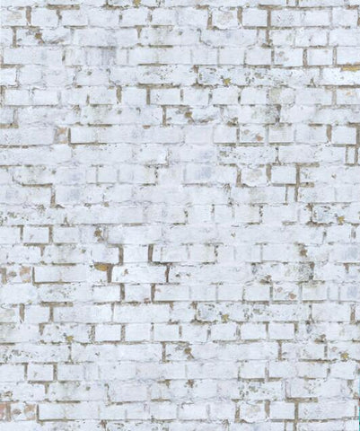 Kate Retro White Brick Wall backdrop + Gray Wood Floor Mat for Photography