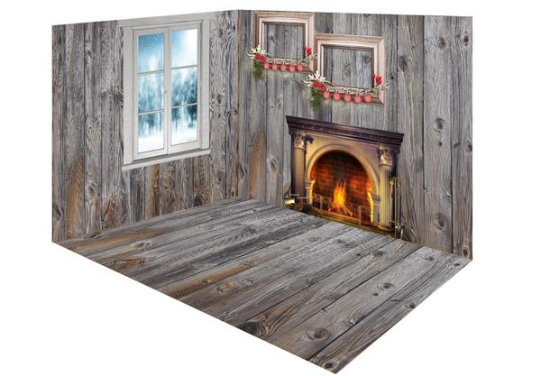 Kate Christmas Fireplace gray wood room set