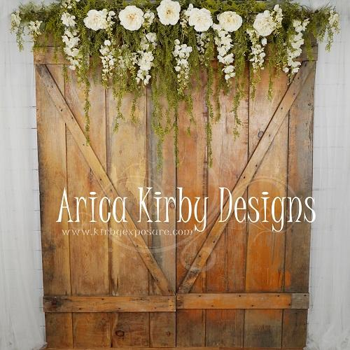 Kate Romantic Barn Doors Mother's Day backdrop designed by Arica Kirby