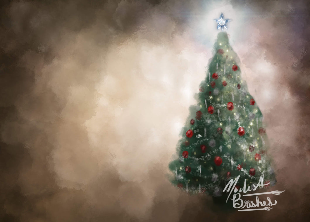 Rustic Christmas Tree Brown Backdrop