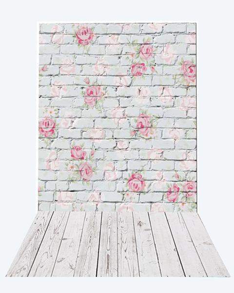 Kate Valentine Flower Brick Backdrop+White Wood Rubber floor mat