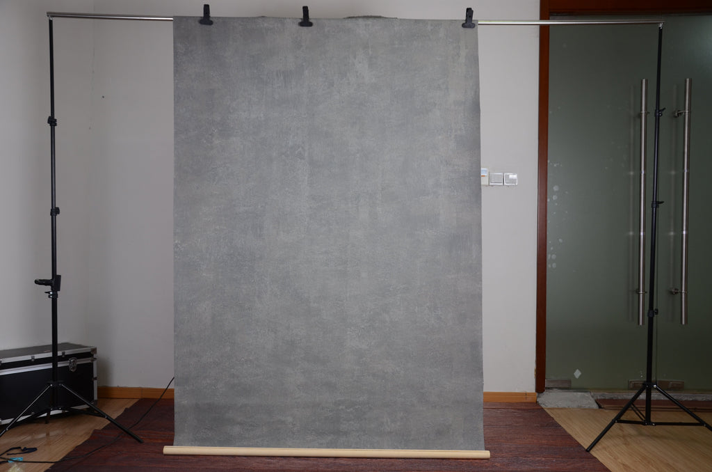 Kate Hand Painted Cold Tones of Grey Texture Canvas Backdrops