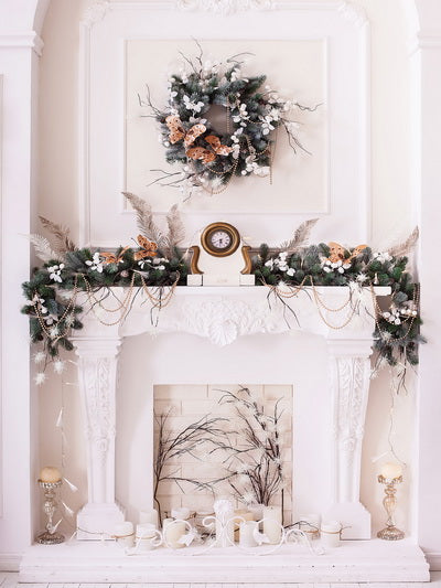 Christmas White Room with Decorations Backdrop