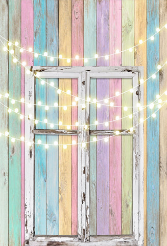 Kate Birthday Baby Colorful Wood Wall with Window Easter Backdrop for Children Designed by JFCC