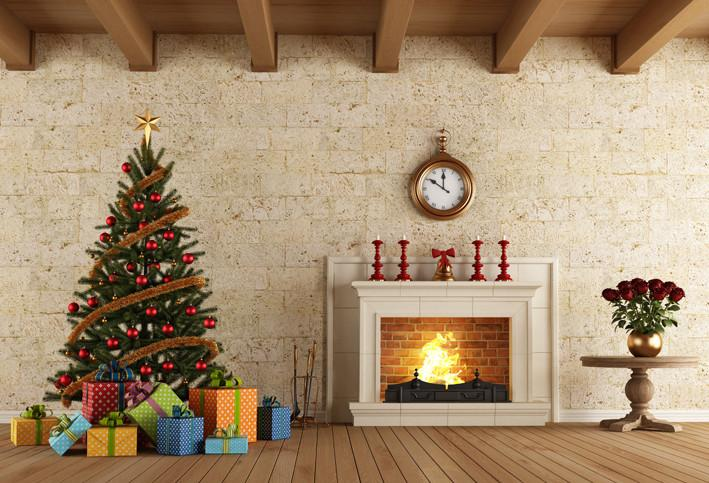 Katebackdrop£ºKate Christmas Tree Stove Gift Boxes Backdrop  Photo Background