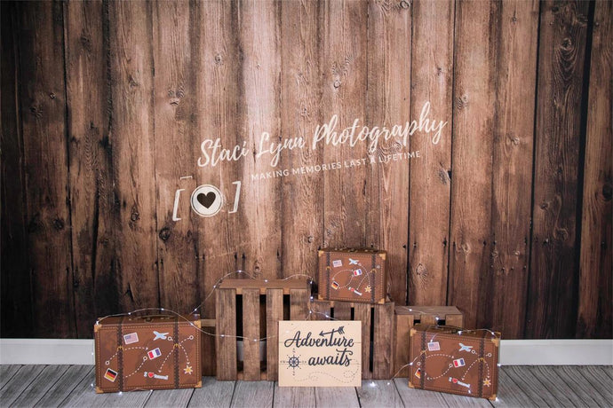 Kate Children Adventure Awaits Wooden Backdrop Designed By Staci Lynn Photography