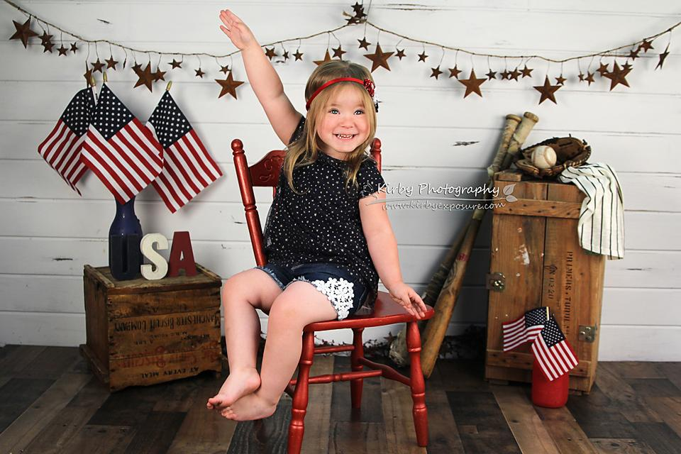 Load image into Gallery viewer, Kate Stars and Stripes Forever Backdrop designed by Arica Kirby
