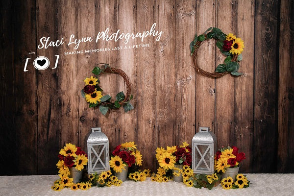 Load image into Gallery viewer, Kate Summer Wedding Children Wood Wall with Sunflowers backdrop designed by Staci Lynn Photography