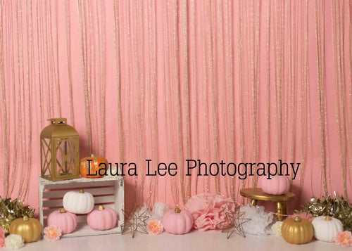 Kate Sweet pumpkins Thanksgiving Pink Backdrop