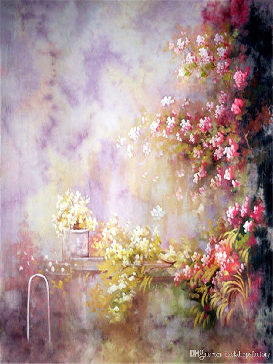 Kate Pink Flowers Texture Spray Painted Backdrop