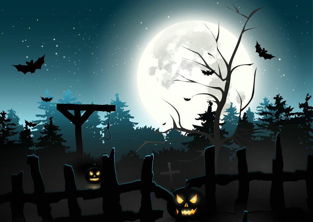Kate Pumpkin Lamps moon horrible night backdrop for Halloween Photography - Kate backdrops UK